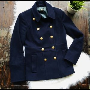 J. CREW Navy Blue Wool Pea Coat Women's 2 EUC